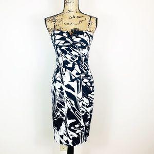 Cache | Blackb+ White Print Bodycon Dress Size 6